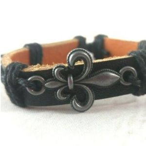 Jewelry - Leather Cuff W/ Fluer De Lis Charm